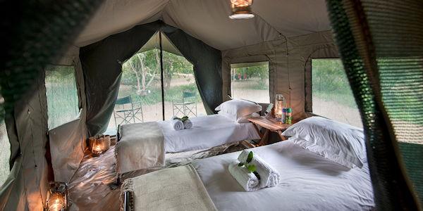 camp de safari en grandes tentes dans le parc kruger