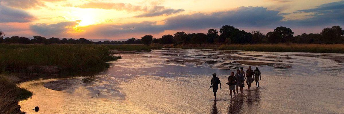 traversee de riviere en safari a pied dans le south lunagwa,