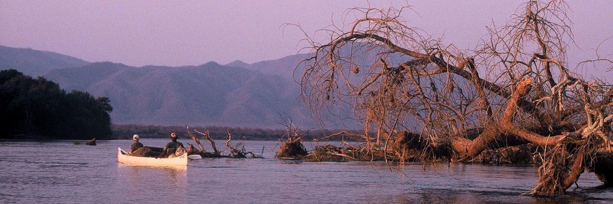safari en canoe en autonomie - coucher de soleil